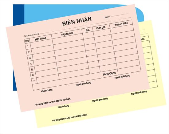 In biên nhận giá rẻ tại Quận 10 TpHCM
